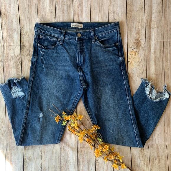 GAP Denim - Gap High Rise Slim Straight Jeans Raw Hem 31R